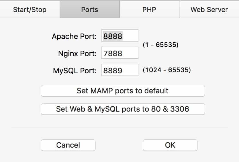 Change ports in mamp