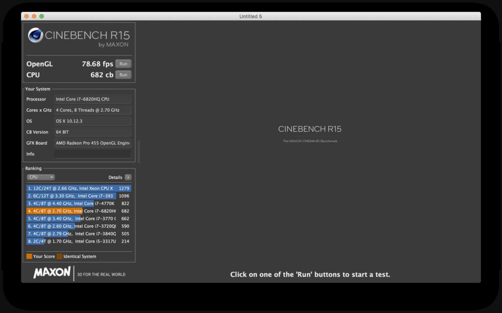 CineBench MacBook Pro 2016